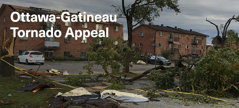 A neighborhood damaged from a tornado